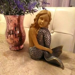 Mermaid Statue with Pink Marble Glass Vase